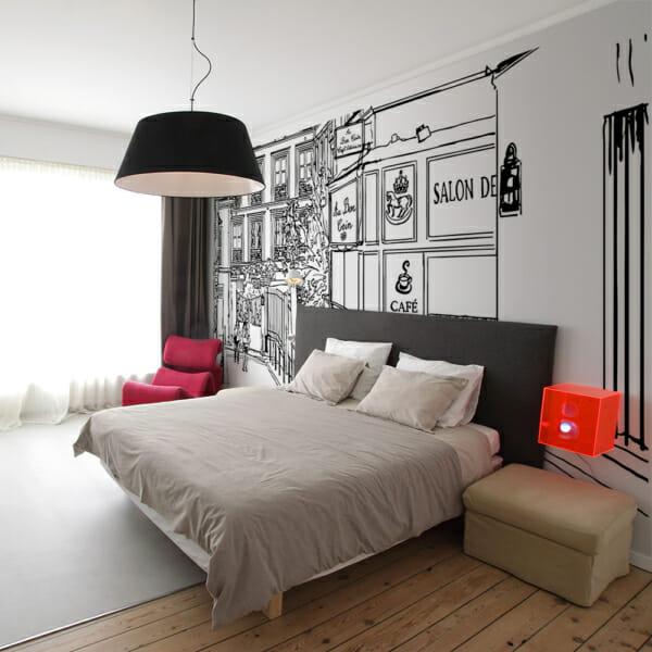 Фототапет XXL с черно-бяла скица на френска уличка