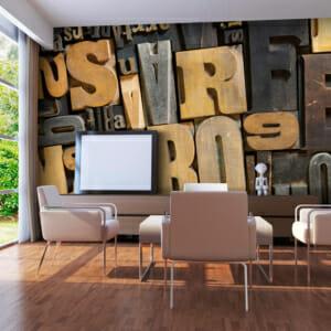 Голям фототапет с латински букви и 3D ефект