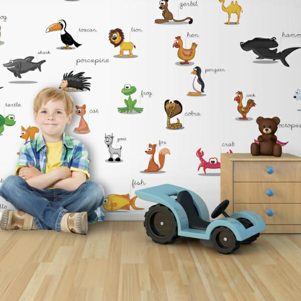 Детски фототапет за цяла стена с различни животни