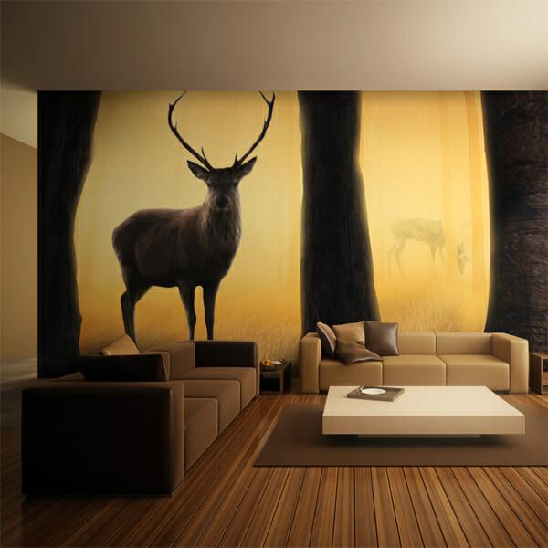 Фототапет за цяла стена с елени в гората