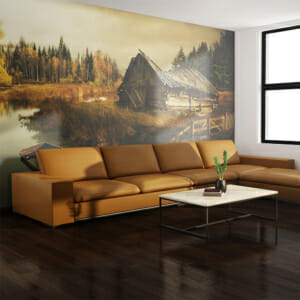 Фототапет XXL като пейзаж с колиба и есенна гора