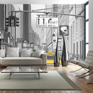 Фототапет XXL като графична картина на Ню Йорк