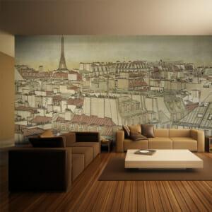 Фототапет за цяла стена като старинна картина от Париж