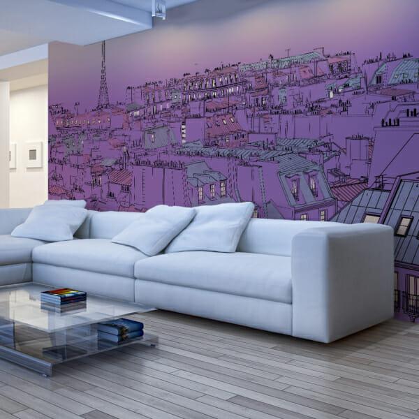 Фототапет XXL с абстрактно изображение на Париж - лилав цвят