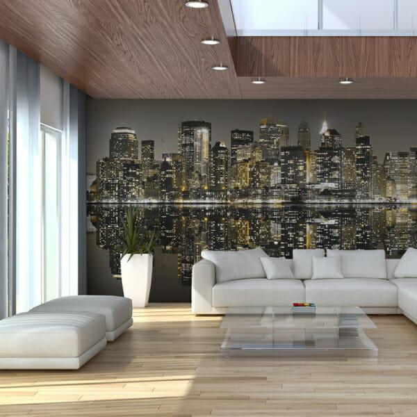 Голям фототапет с вечерен изглед към небостъргачи