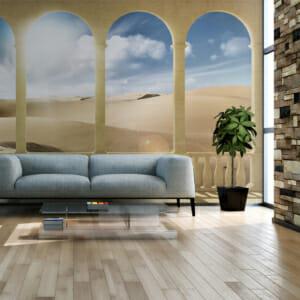 Фототапет XXL с мраморни колони и пустинен пейзаж