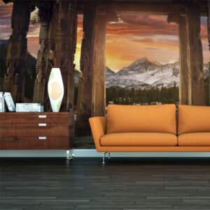 Фототапет за цяла стена с планински пейзаж по залез