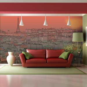 Фототапет XXL като рисунка с гледка към Париж по залез