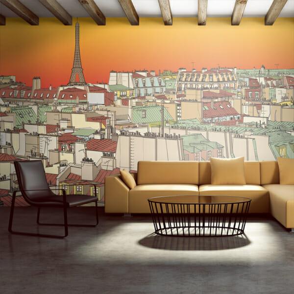 Голям фототапет като рисунка с гледка към Париж по изгрев