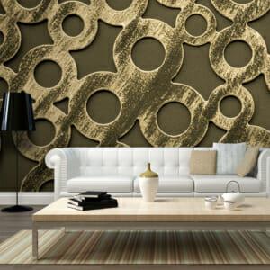 Фототапет за цяла стена с 3D ефект и пръстени от бронз