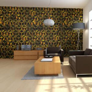 Фототапет за цяла стена с кубове в жълто и черно Рейн