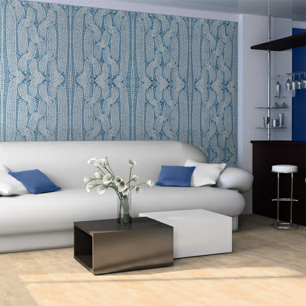 Фототапет XXL като текстура с плетиво в синьо