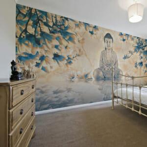 Фототапет за цяла стена с медитиращ Буда и цветя