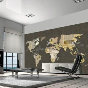 Фототапет XXL карта на света с изрезки от вестници