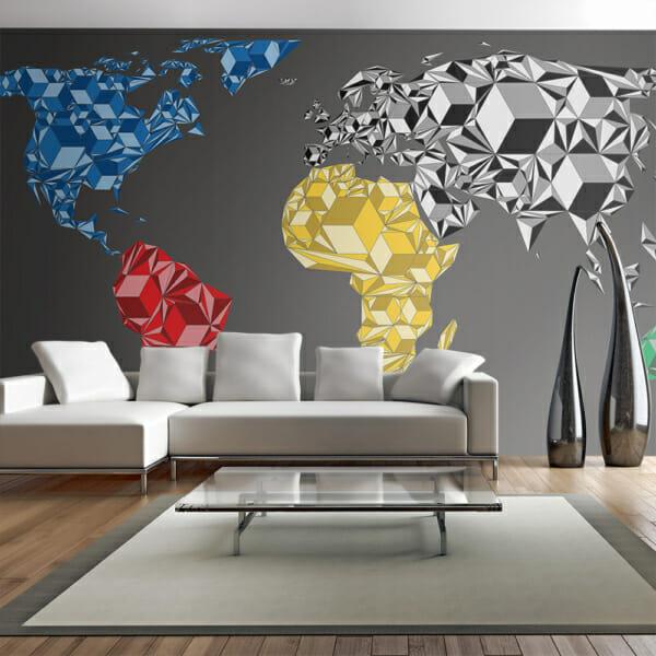 Фототапет XXL с карта на света с геометрични фигури