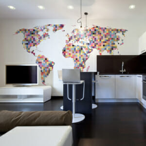 Голям фототапет с карта на света като мозайка