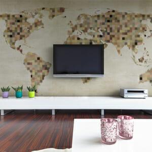 Фототапет XXL с карта на света в пясъчни нюанси