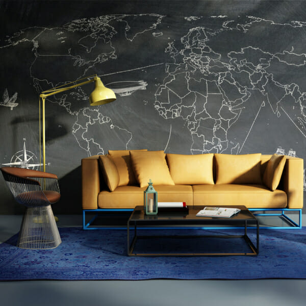 Фототапет XXL с карта на света на черен фон - вариант 1