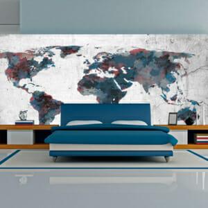 Голям фототапет като рисувана с водни бои карта на света
