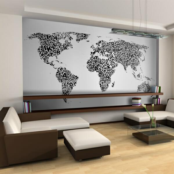 Фототапет XXL с карта на света и букви в черно-бяло
