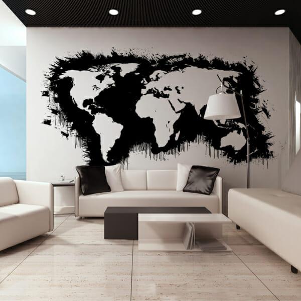 Фототапет XXL с карта на света в черно и бяло