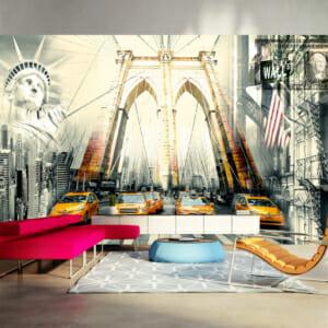 Голям фототапет с типични изображения от Ню Йорк