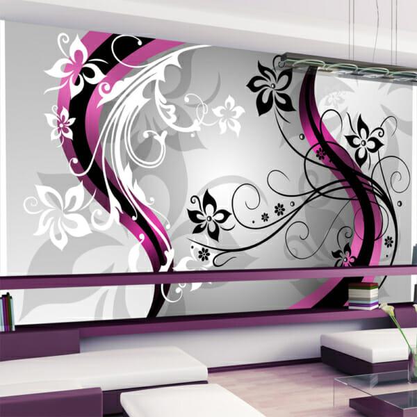 Фототапет за цяла стена с флорални акценти - розов цвят