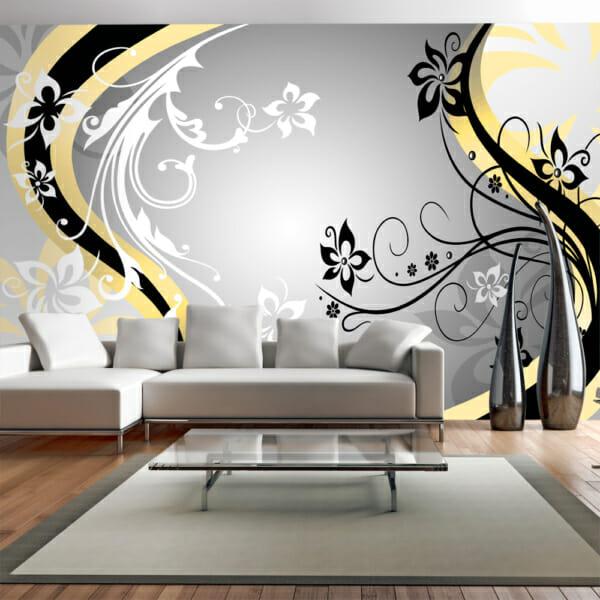 Фототапет за цяла стена с флорални акценти - жълт цвят