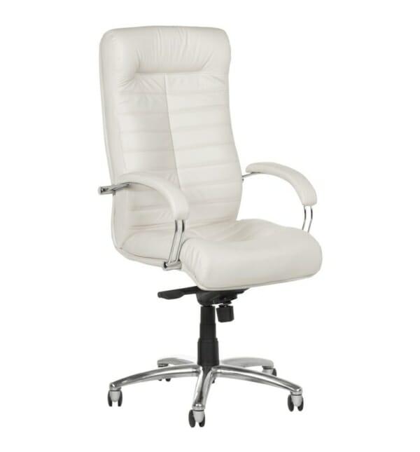 Черен директорски стол от естествена кожа (5 цвята) - бял