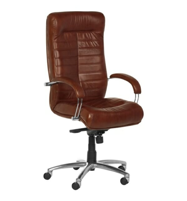 Черен директорски стол от естествена кожа (5 цвята) - кафяв