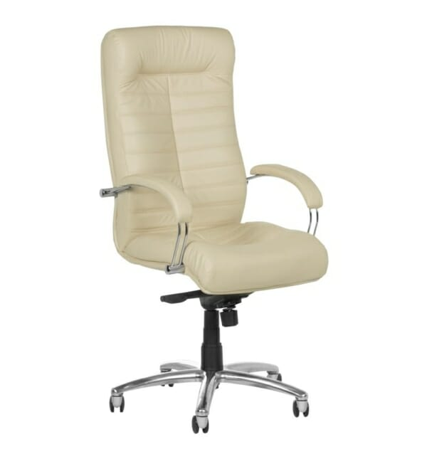 Черен директорски стол от естествена кожа (5 цвята) - крем