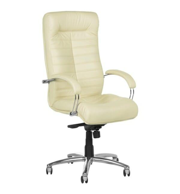 Черен директорски стол от естествена кожа (5 цвята) - ванилия