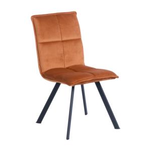 Оранжев трапезен стол с дамаска и черни метални крака