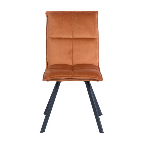 Оранжев трапезен стол с дамаска и черни метални крака - отпред