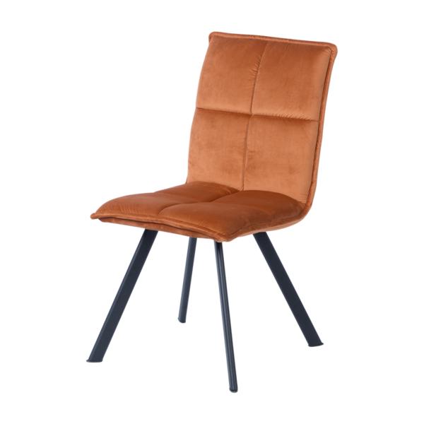 Оранжев трапезен стол с дамаска и черни метални крака - странично