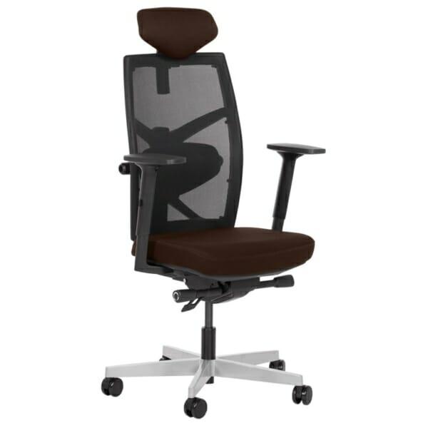 Удобен офис стол с много екстри (13 цвята) - тъмнокафяв