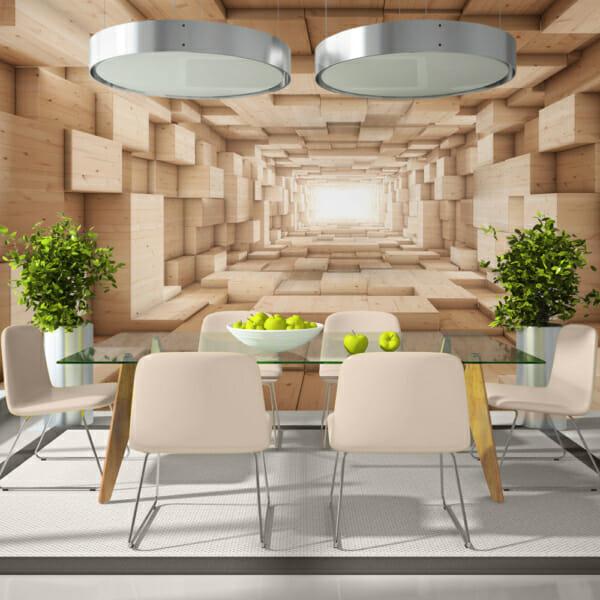 Голям фототапет като тунел с дървени стени