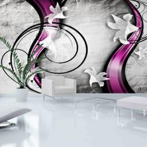 Фототапет за цяла стена с абстрактни лилии