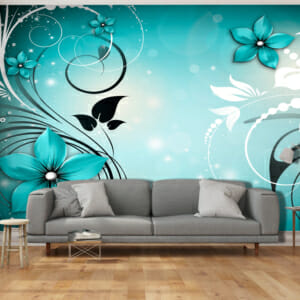 Фототапет за цяла стена с абстрактни цветя в синьо