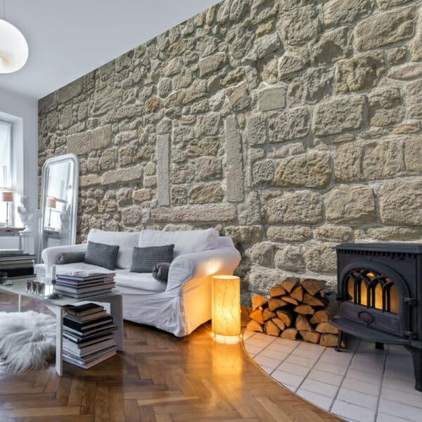 Фототапет XXL като стена с варовикови камъни