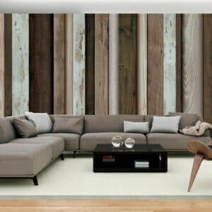 Фототапет XXL с дървени дъски в бяло и кафяво