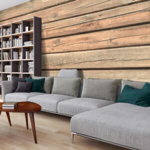 Фототапет XXL със стена от дървени дъски и 3D ефект