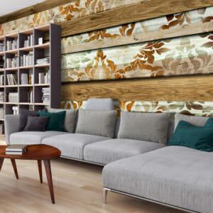 Фототапет XXL с дървени дъски и флорални детайли
