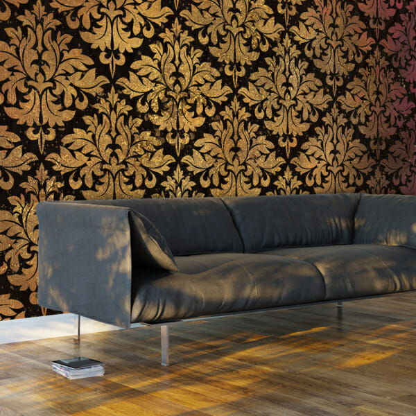 Фототапет XXL с флорални елементи в златисто и черно