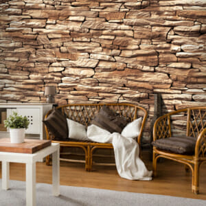 Фототапет XXL с 3D ефект и стена от кафяви камъни