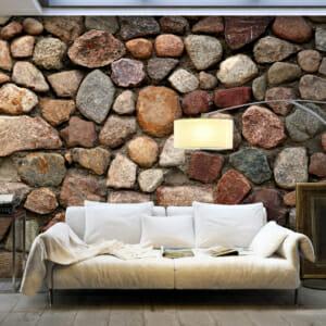 Голям фототапет имитиращ стена от разноцветни камъни