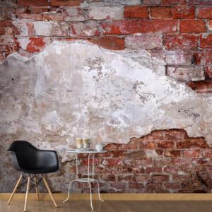 Голям фототапет с олющена тухлена стена