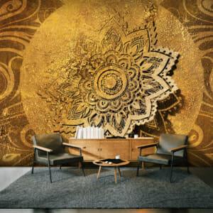 Фототапет за цяла стена в златисто с 3D ефект