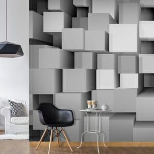 Фототапет XXL със сиви кубове с 3D ефект