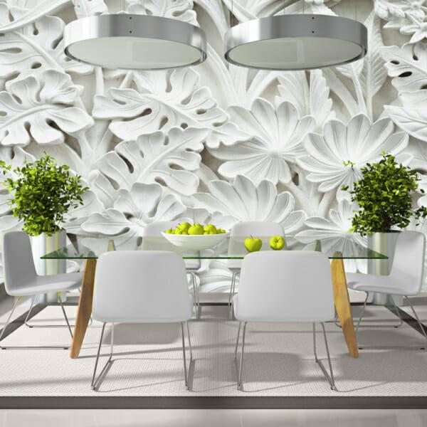 Фототапет XXL с 3D ефект и бели декоративни растения